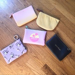 Set of 5 Ipsy makeup bags all size approx. 7 x 5